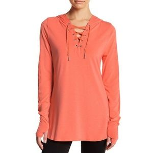 Nanette Lepore hooded lace up pullover